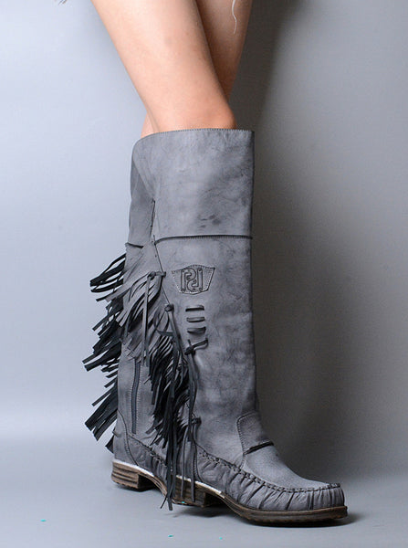PROVAPERFETTO ANKLE BOOTS WITH TASSEL DESIGN 1100641 GREY TAN