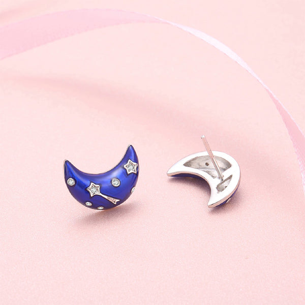 JELLY GIRL 925 STERLING SILVER MAKE A BRIGHT DREAM BLUE MOON DESIGN STUD EARRINGS