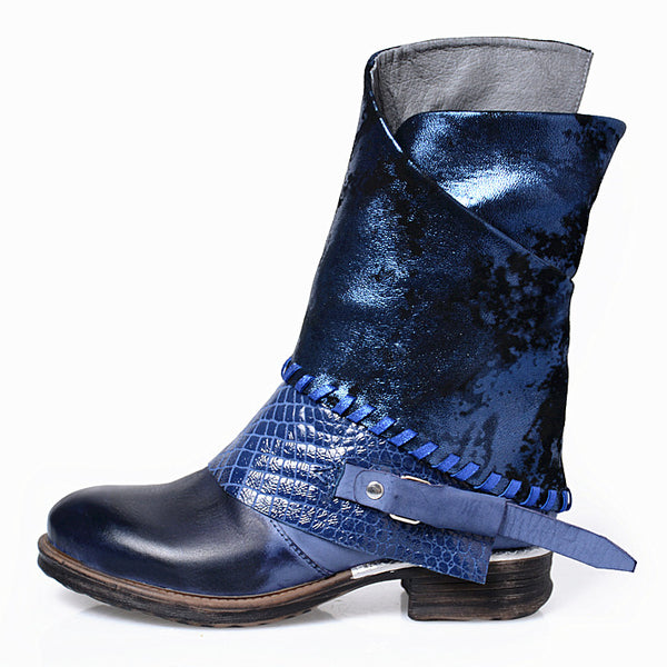 PROVAPERFETTO WESTERN LEATHER ANKLE BOOTS WITH PATCH 1027101 DARK BLUE BLACK - boopdo