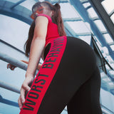 MIP RED SIDE TAPING TRAINING LEGGINGS WITH MESH PANEL DETAIL