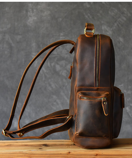 TWENTY FOUR STREET 15 INCHES HEAD LAYER HANDMADE LEATHER BACKPACK - boopdo