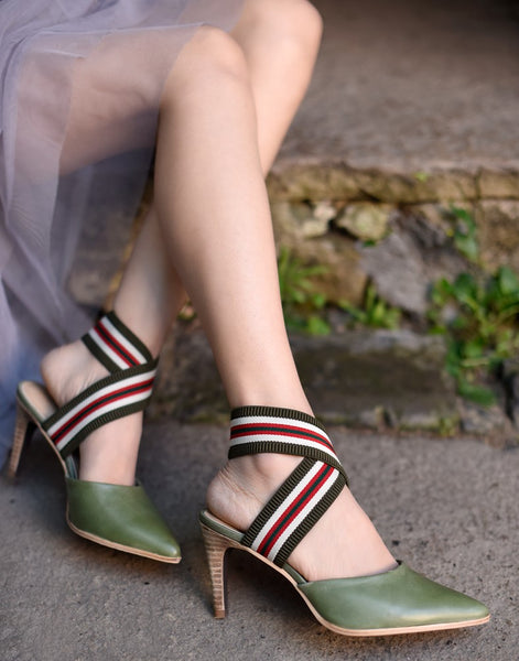 ARTMU CROSS STRAP POINTED HEELS WITH STRIPE DETAIL