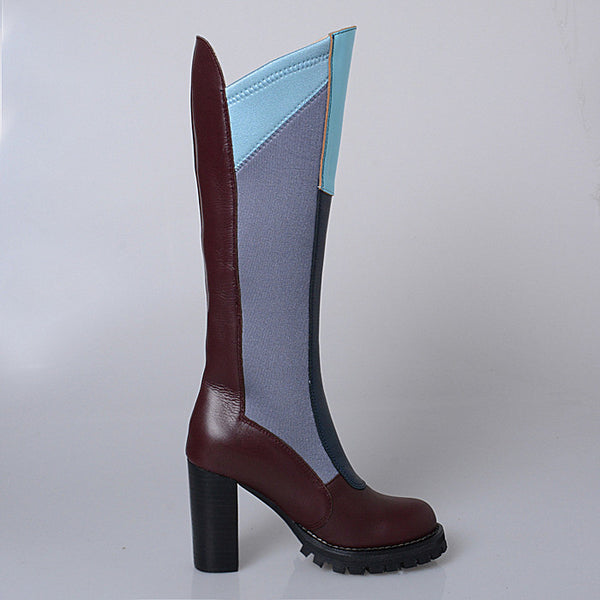 PROVAPERFETTO COLOR BLOCK ELASTIC LEATHER KNEE BOOTS 10409700