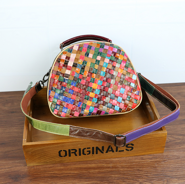 TRAPEZOIDAL SQUARE WOVEN SHEEPSKIN LEATHER SHOULDER BAG MULTI COLOR