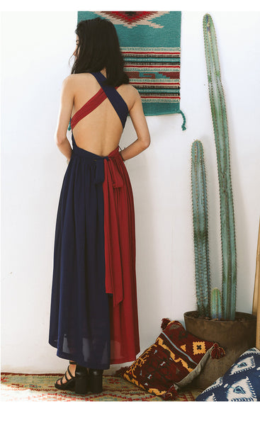 SINCE THEN COLOUR BLOCK TIE BACK CROSS FRONT MAXI BEACH DRESS