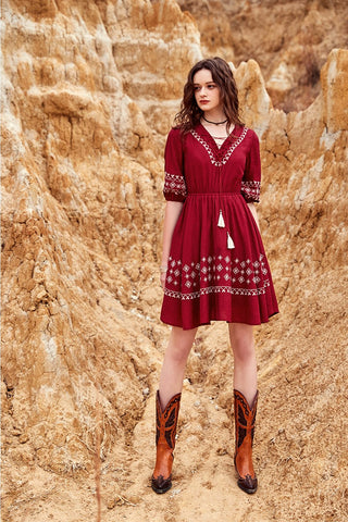 ARTKA TASSEL TIES AND EMBROIDERED DRESS IN BURGUNDY