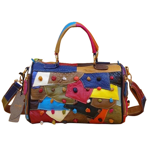 CAERLIFAB BOOPDO PATCHWORK DIAGONAL LEATHER HANDBAG IN MULTI COLOR
