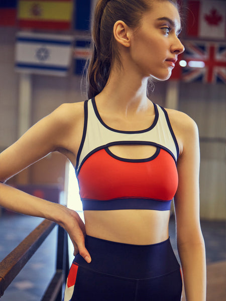 GYMNA SPORTS BRA WITH CONTRAST BREATHABLE MESH PANEL - boopdo