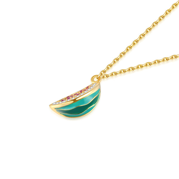 JELLY GIRL 14K GOLD PLATED CRYSTAL WATERMELON DROP NECKLACE - boopdo