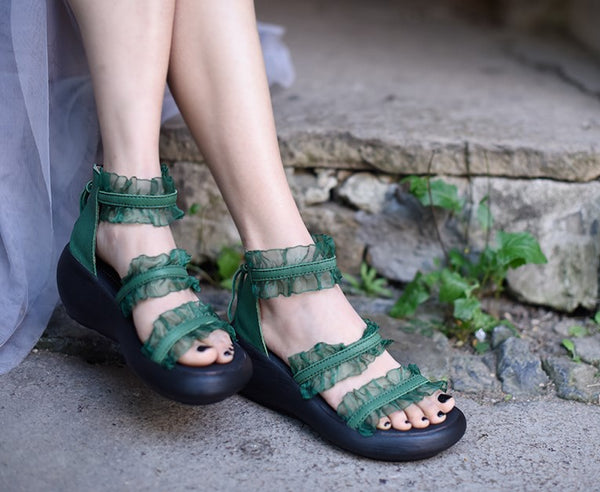ARTMU FRILL FLATFORM SANDALS IN GREEN