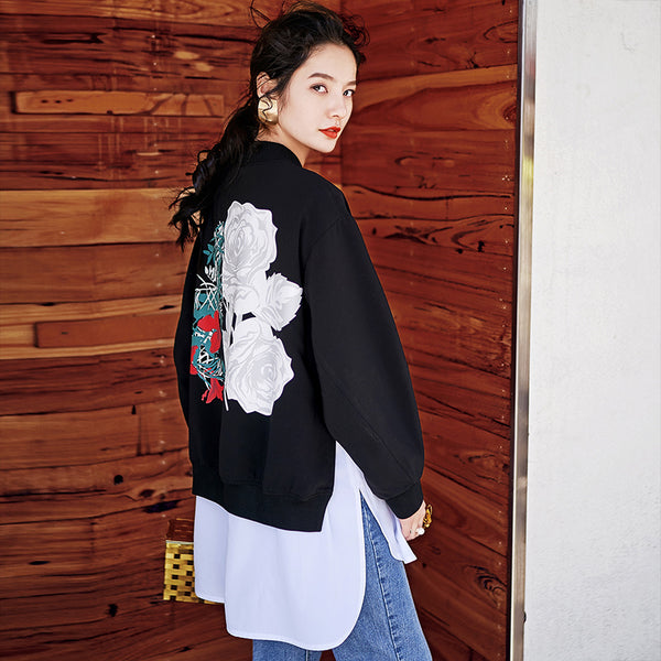 8GIRLS DESIGN LIGHTWEIGHT BOMBER JACKET WITH BACK PRINT - boopdo