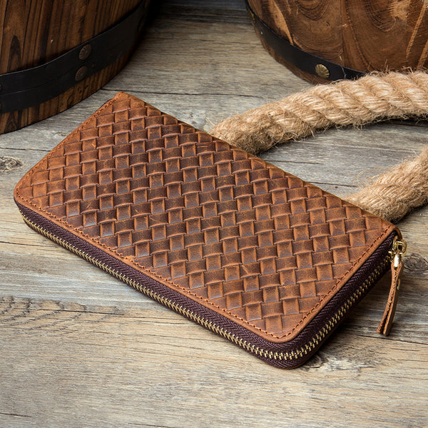 MANTIME SIXTEENTH WOVEN EMBOSSED MOBILE PHONE LEATHER WALLET IN BROWN