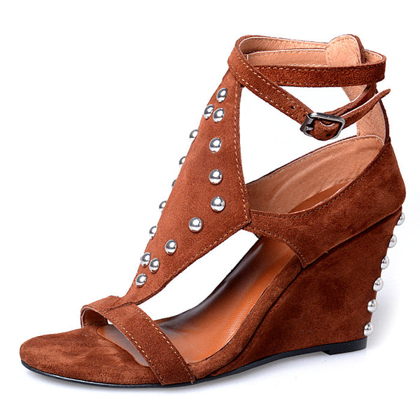 PROVAPERFETTO STUDDED BLOCK HEELED WEDGES