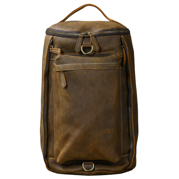 TWENTY FOURTH STREET MULTI FUNCTION CROSS BODY BUCKET LEATHER BACKPACK IN BROWN - boopdo