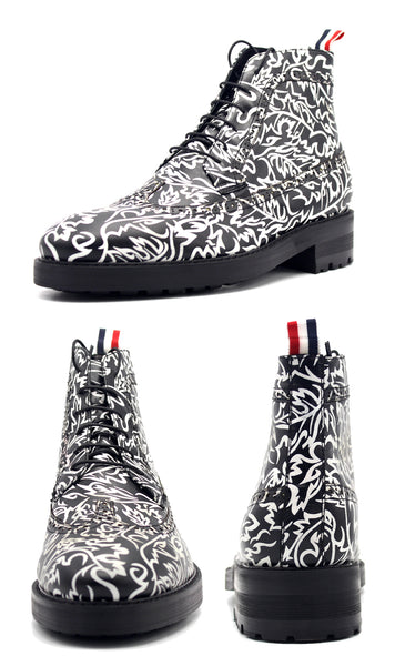 JINIWU VANGUARD BROGUE HANDMADE ZEBRA PRINT LACE UP BOOTS - boopdo