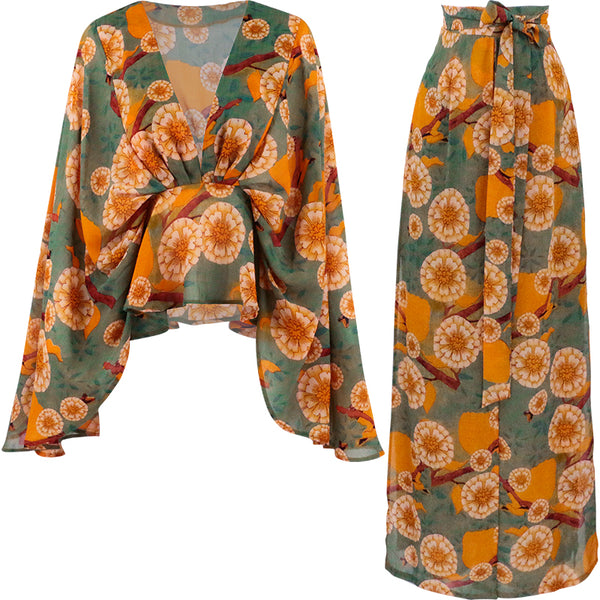 SINCE THEN LONG SLEEVE PLUNGE TOP WITH KIMONO SLEEVE AND WIDE LEG TROUSERS IN FLORAL
