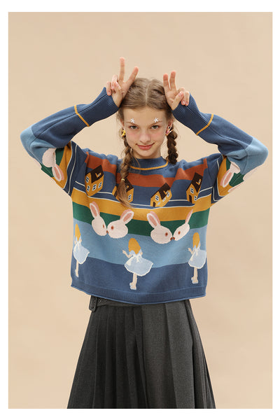TYAKASHI MULTI STRIPE FLUFFY JUMPER IN RABBIT PRINT - boopdo