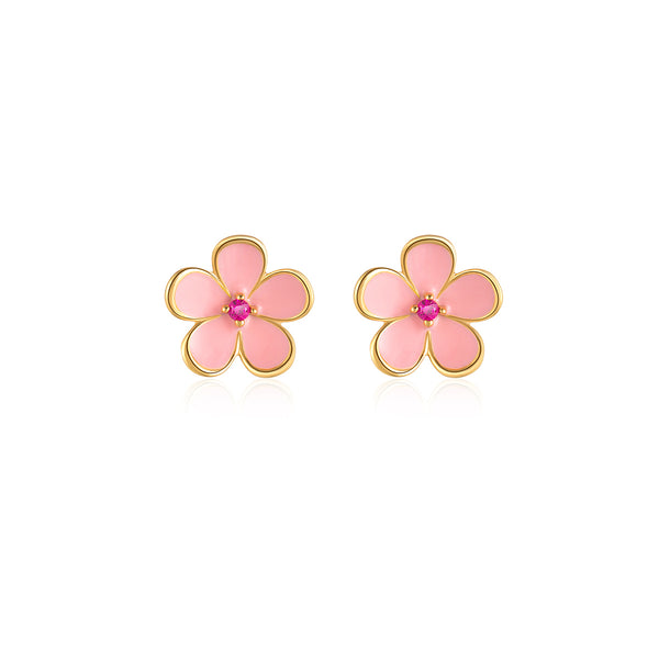 LITTLE JOYS 18K GOLD PINK FLOWER STUD EARRINGS