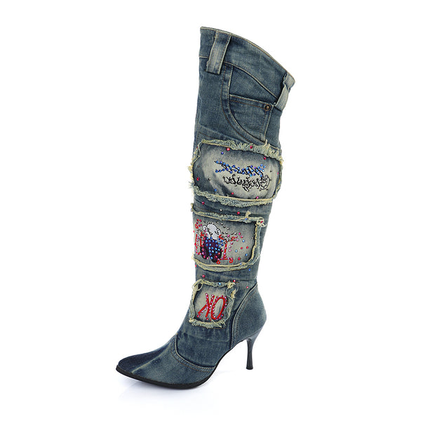 MARTINO FRANKLIA CANVAS DENIM JEAN OVER THE KNEE BOOTS IN SKY BLUE - boopdo