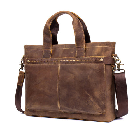 BOOPDO DESIGN MANTIME BUSINESS LEATHER MESSENGER BAG IN BROWN