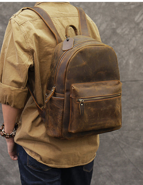 TWENTY FOUR STREET 14 INCHES CLASSIC HANDMADE RETRO TRAVEL BROWN LEATHER BACKPACK - boopdo