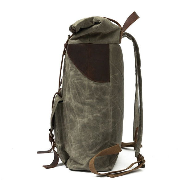 BOOPDO DESIGN OIL WAX CANVAS LEATHER WATERPROOF 15 INCHES TRAVEL BACKPACK