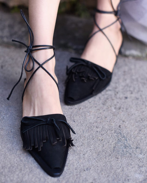 ARTMU POINTED BOW AND TASSEL DETAIL MULE LOAFER