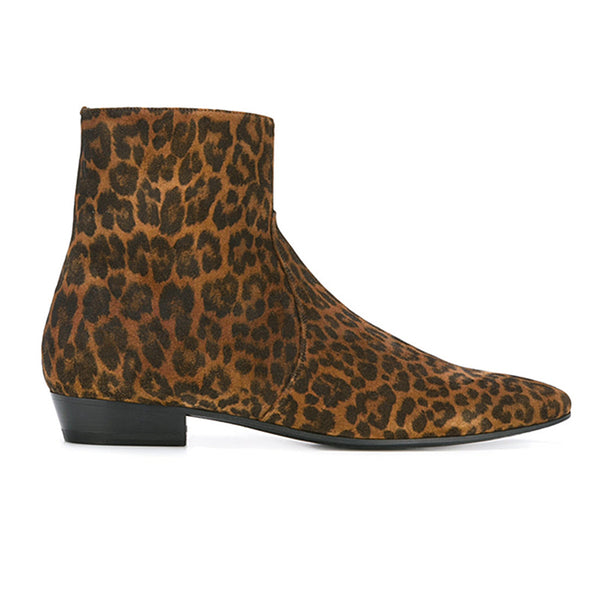 NADEMIA LEOPARD TOE POINTED FUR LEOPARD CHELSEA BOOTS