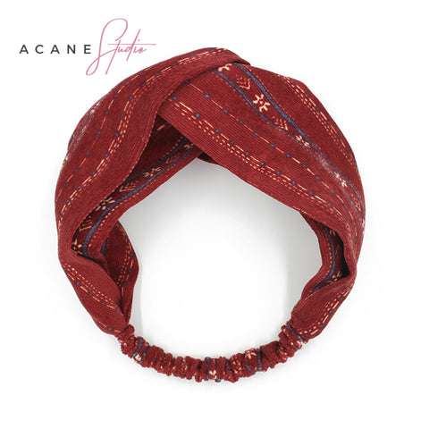 ACANE STUDIO SNOW FLAKE PATTERN HEAD BAND IN WINE RED