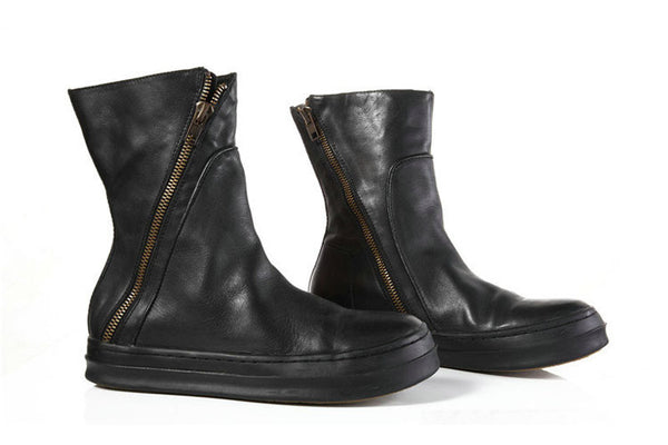 DIAHNE EXCLUSIVE LEATHER WITH ZIP FRONT DETAIL BLACK BOOTS - boopdo