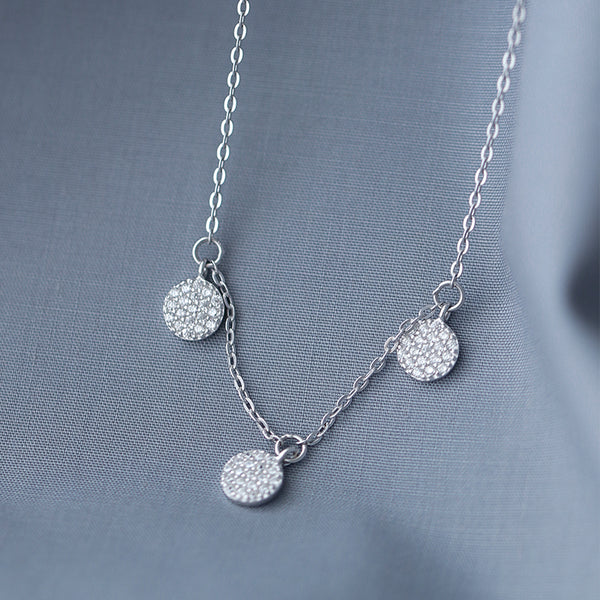 SILVER OF LIFE SILVER PENDANT NECKLACE WITH CRYSTAL DESIGN