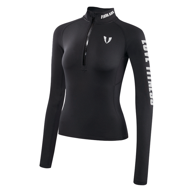 ELITE ABS LONG SLEEVE SPORTS TOP WITH ZIP NECK P1804101 BLACK WHITE - boopdo