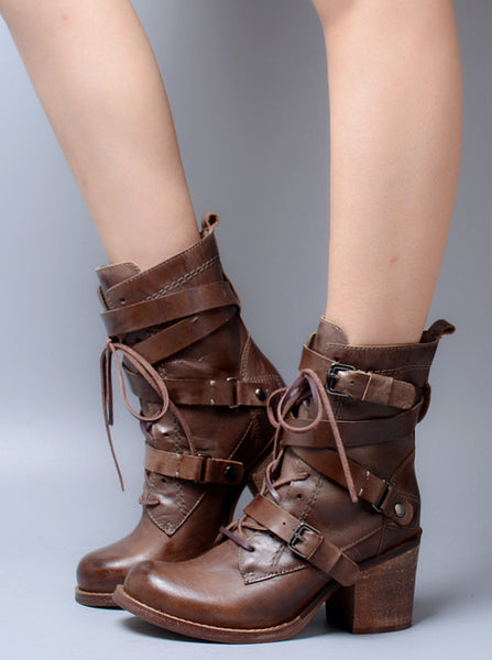 PROVAPERFETTO BUCKLE HEELED ANKLE BOOTS WITH LACE UP DETAIL1040999