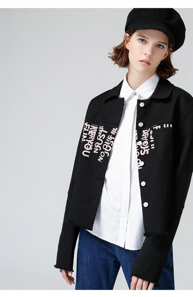 TOYOUTH BLACK LOGO DENIM GIRLFRIEND JACKET - boopdo