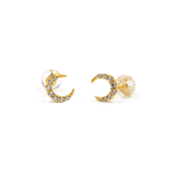 JELLY GIRL 18K GOLD SHINING CRYSTAL STUD EARRINGS