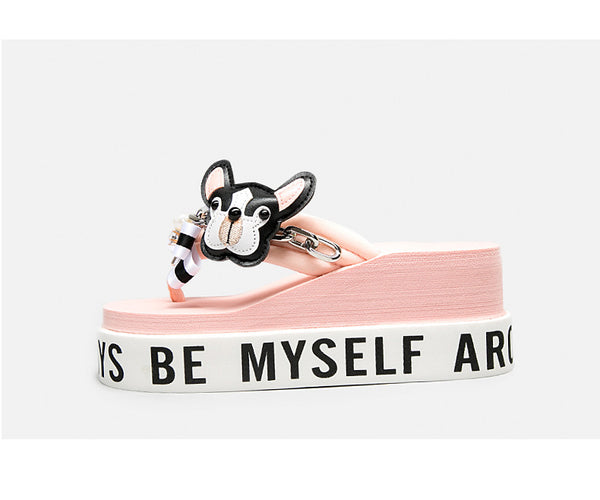 BELLALILY FLORAL BOW AND PUPPY PLATFORM FLIP FLOP