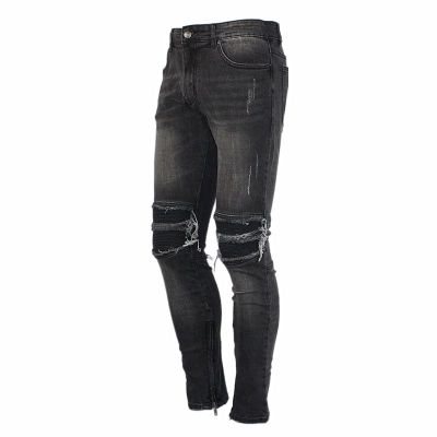 HYPESTER BIKERS RIPPED WASHED DENIM JEAN PANTS - boopdo