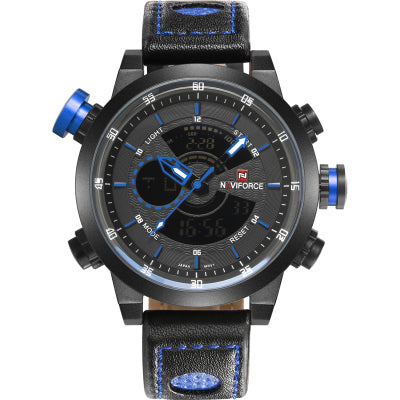 naviforce belt collar alloy large dial double display multi function waterproof watch