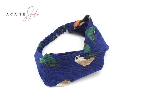 ACANE STUDIO TWIST HEAD BAND IN LITTLE BIRD FIGURED