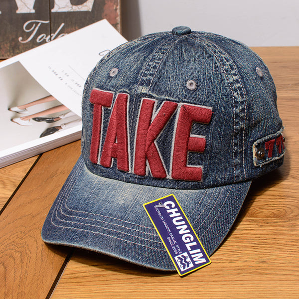 CHUNGLIM THE TAKE MYSTERIC GLAMOUR OUTDOOR CURVED CAPS IN DENIM - boopdo