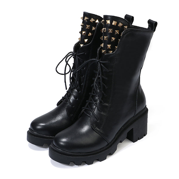 LOXPIA WOMENS EXULL BRITISH DESIGN THICK SOLED LEATHER BOOTS WITH RIVET - boopdo