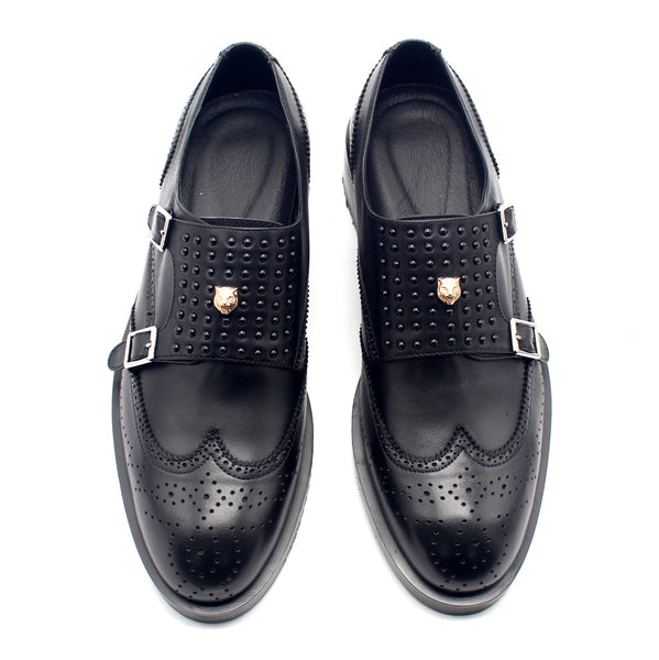 JINIWU VANGUARD TIGER HEAD BEE EMBROIDERY HANDMADE LEATHER SHOES IN BLACK - boopdo