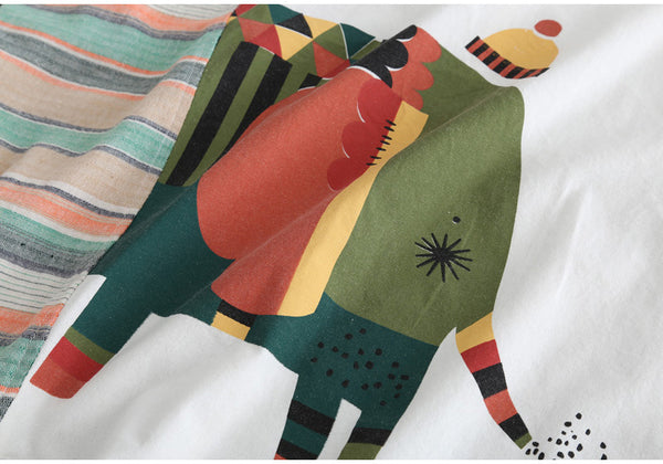 AUTUMN ORGANIC COTTON T SHIRT WITH HAND PAINTED ELEPHANT PRINT