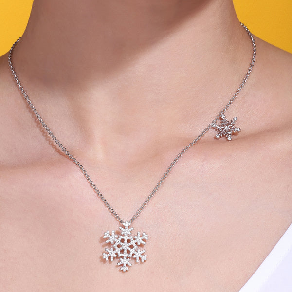 LITTLE JOYS 925 STERLING SILVER SNOW FLAKE DROP NECKLACE - boopdo