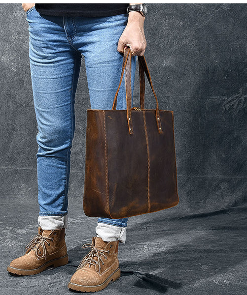 TWENTY FOUR STREET EUROPEAN STYLE HANDMADE LARGE CAPACITY LEATHER TOTE BAG IN BROWN - boopdo