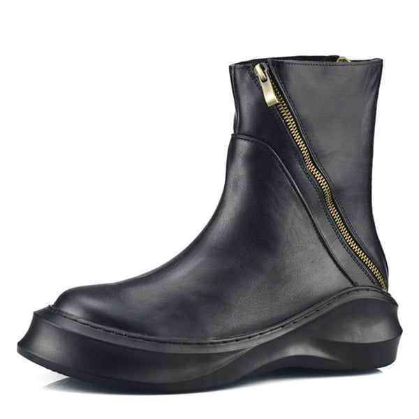 NERI THE HEEL CLASSICAL ANKLE TUBE RETRO ZIPPER LEATHER BOOTS