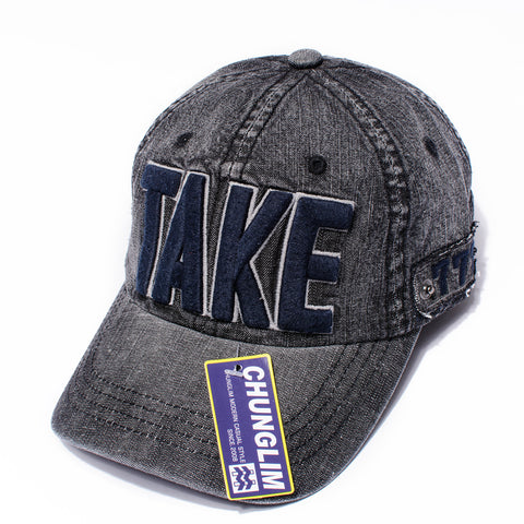 CHUNGLIM THE TAKE MYSTERIC GLAMOUR OUTDOOR CURVED CAPS IN DENIM
