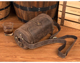 MANTIME SOCIAL OUTDOOR LEATHER BUCKET BAG IN BROWN - boopdo
