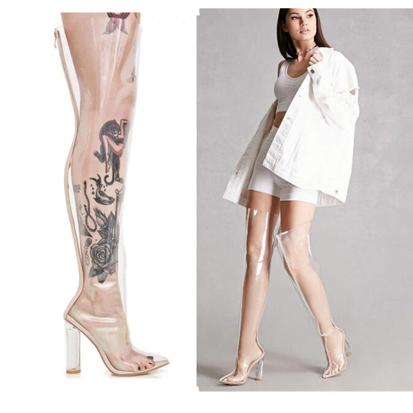 ROMALIX BOOPDIO TRANSPARENT OVER THE KNEE BOOTS