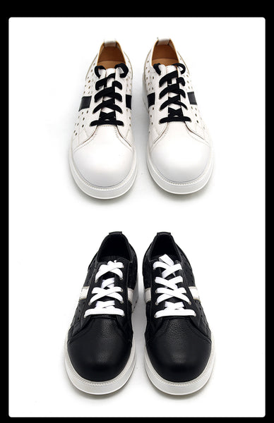 JINIWU VANGUARD BRITISH STYLE THICK SOLED LEATHER SHOES IN BLACK WHITE - boopdo